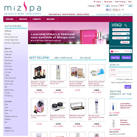 MizSpa ecommerce website